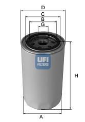 Filtre a huile de circuit hydraulique UFI 80.030.00 (X1)