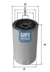 Filtre a huile de circuit hydraulique UFI 80.041.00 (X1)