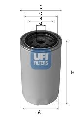 Filtre a huile de circuit hydraulique UFI 80.043.00 (X1)