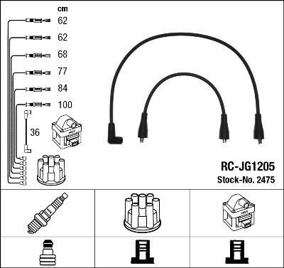 Cable d'allumage NGK 2475 (X1)