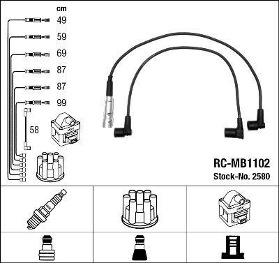 Cable d'allumage NGK 2580 (X1)