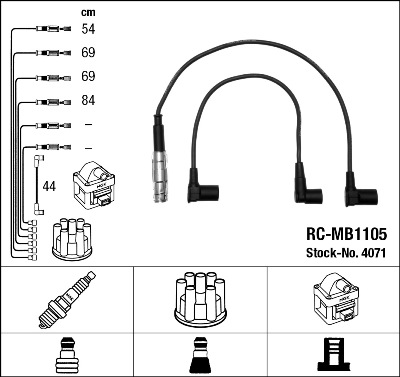 Cable d'allumage NGK 4071 (X1)