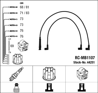 Cable d'allumage NGK 44251 (X1)