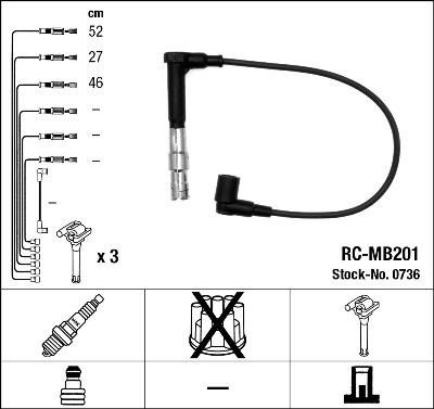 Cable d'allumage NGK 0736 (X1)