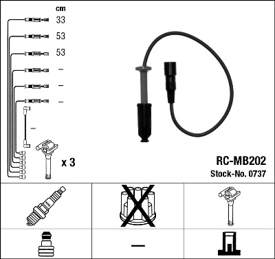 Cable d'allumage NGK 0737 (X1)