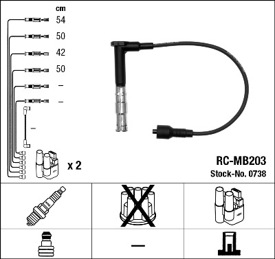 Cable d'allumage NGK 0738 (X1)