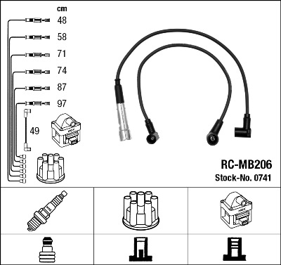 Cable d'allumage NGK 0741 (X1)