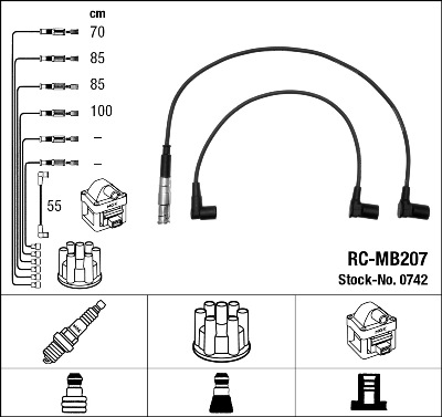 Cable d'allumage NGK 0742 (X1)