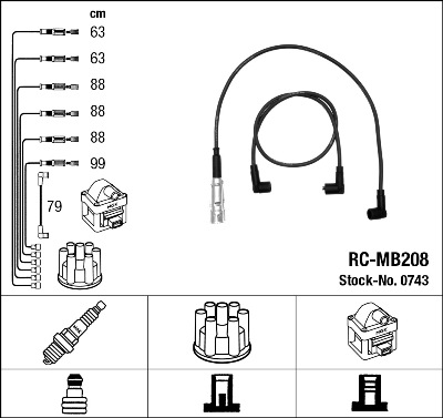 Cable d'allumage NGK 0743 (X1)