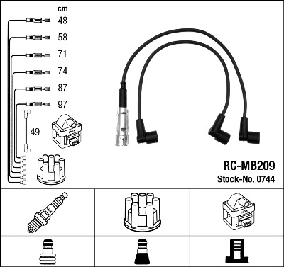 Cable d'allumage NGK 0744 (X1)