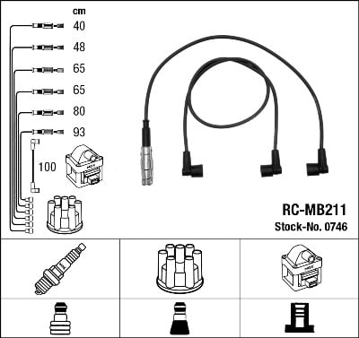 Cable d'allumage NGK 0746 (X1)