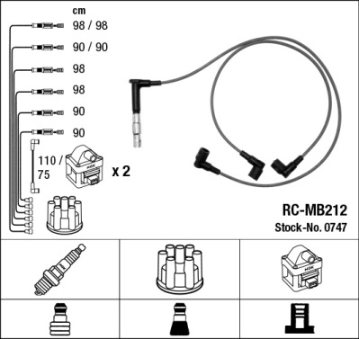 Cable d'allumage NGK 0747 (X1)