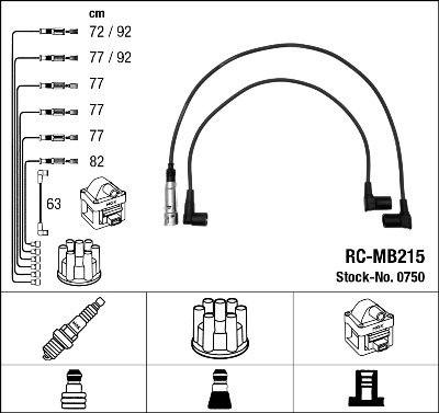 Cable d'allumage NGK 0750 (X1)