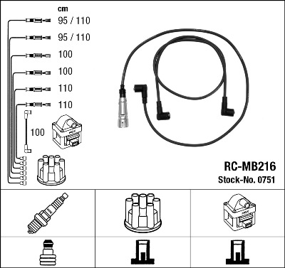 Cable d'allumage NGK 0751 (X1)