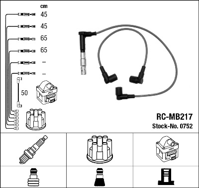 Cable d'allumage NGK 0752 (X1)