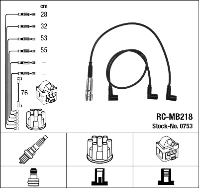 Cable d'allumage NGK 0753 (X1)