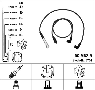 Cable d'allumage NGK 0754 (X1)