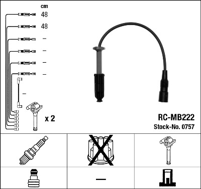 Cable d'allumage NGK 0757 (X1)