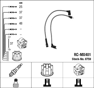 Cable d'allumage NGK 0759 (X1)
