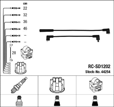 Cable d'allumage NGK 44254 (X1)