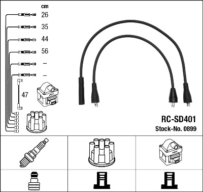 Cable d'allumage NGK 0899 (X1)