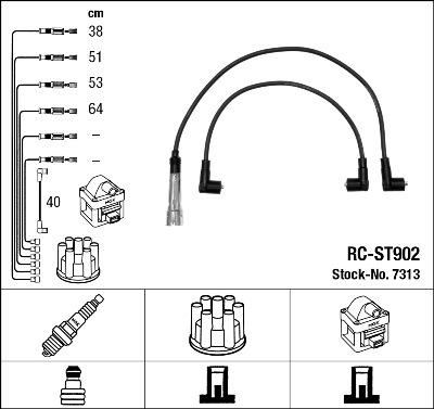 Cable d'allumage NGK 7313 (X1)