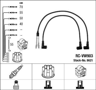Cable d'allumage NGK 8621 (X1)