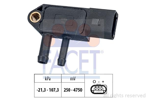 Capteur, pression des gaz échappement FACET 10.3266 (X1)