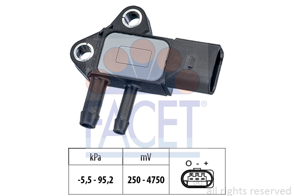 Capteur, pression des gaz échappement FACET 10.3297 (X1)