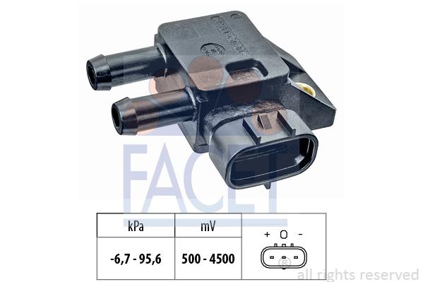Capteur, pression des gaz échappement FACET 10.3308 (X1)