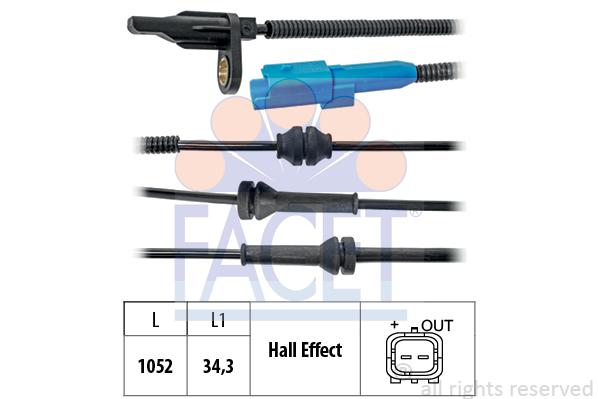 Capteur ABS FACET 21.0025 (X1)