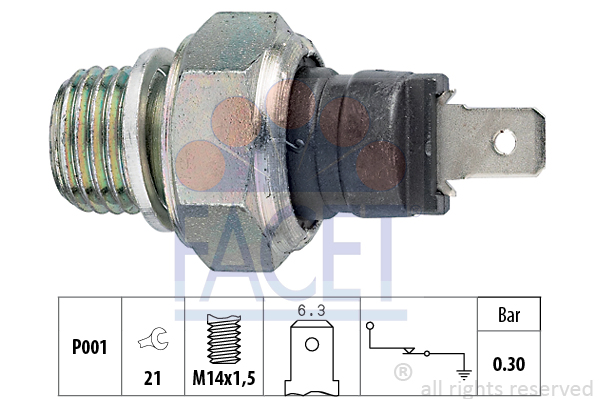 Capteur, pression d'huile FACET 7.0000 (X1)