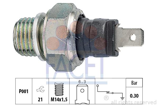 Capteur, pression d'huile FACET 7.0005 (X1)