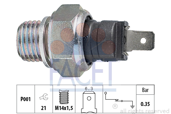 Capteur, pression d'huile FACET 7.0006 (X1)