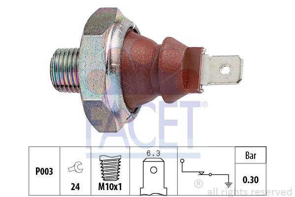 Capteur, pression d'huile FACET 7.0007 (X1)