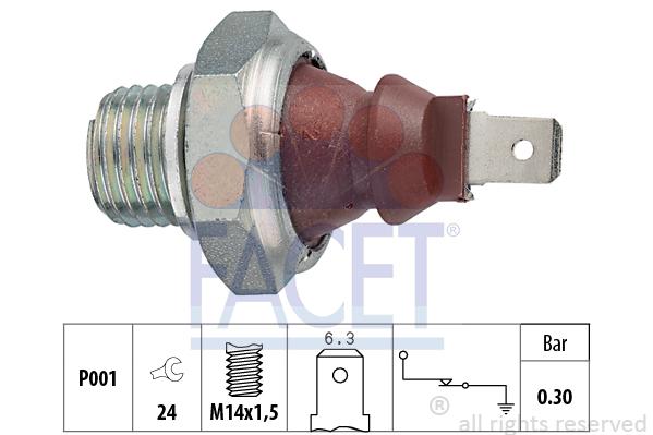 Capteur, pression d'huile FACET 7.0023 (X1)