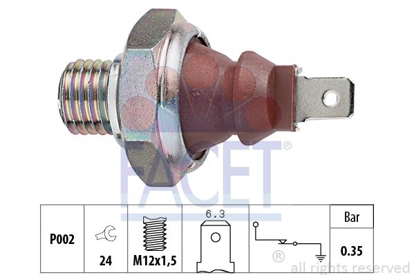 Capteur, pression d'huile FACET 7.0026 (X1)