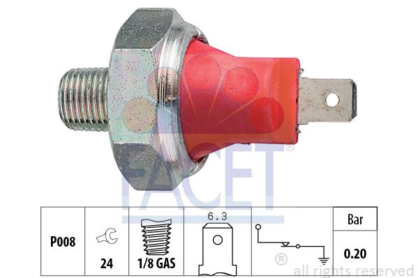 Capteur, pression d'huile FACET 7.0035 (X1)