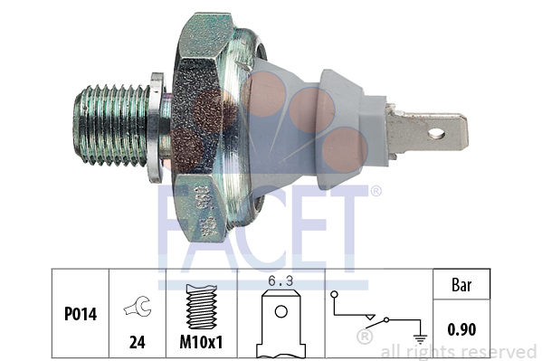 Capteur, pression d'huile FACET 7.0095 (X1)