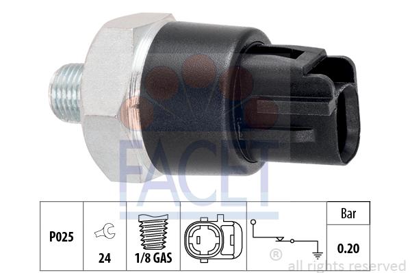 Capteur, pression d'huile FACET 7.0114 (X1)