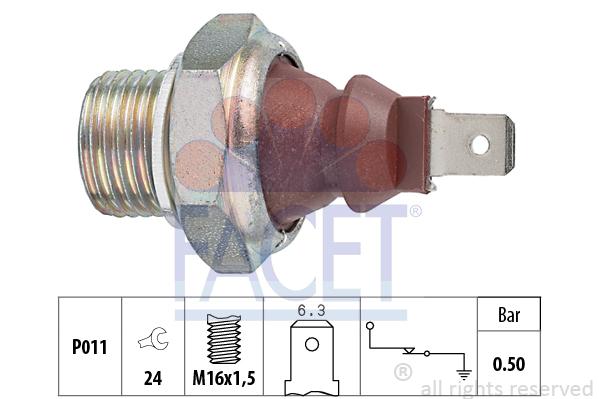 Capteur, pression d'huile FACET 7.0124 (X1)