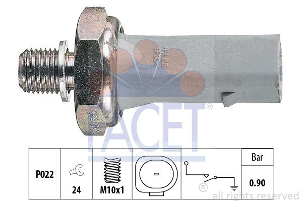 Capteur, pression d'huile FACET 7.0134 (X1)