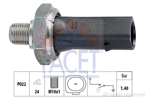 Capteur, pression d'huile FACET 7.0135 (X1)