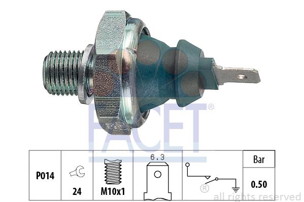 Capteur, pression d'huile FACET 7.0138 (X1)