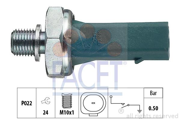Capteur, pression d'huile FACET 7.0139 (X1)