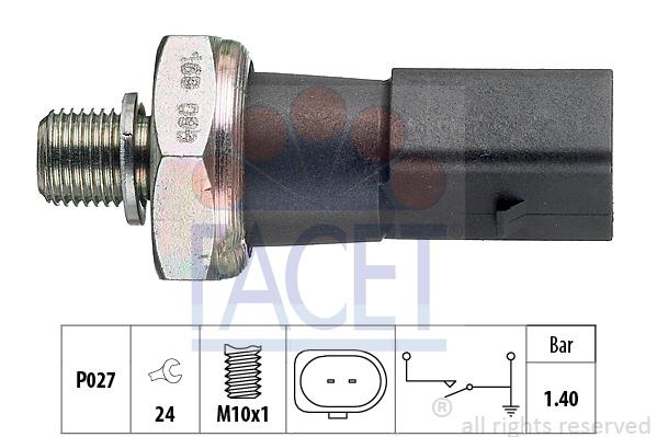 Capteur, pression d'huile FACET 7.0168 (X1)
