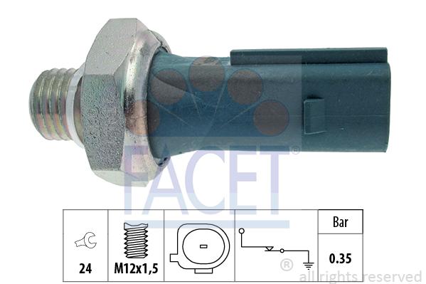 Capteur, pression d'huile FACET 7.0177 (X1)