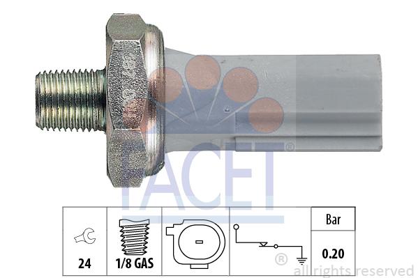 Capteur, pression d'huile FACET 7.0187 (X1)