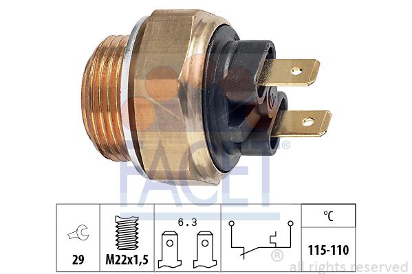 Interrupteur de temperature, ventilateur de radiateur FACET 7.5135 (X1)
