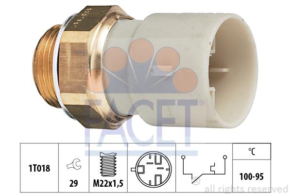 Interrupteur de temperature, ventilateur de radiateur FACET 7.5147 (X1)